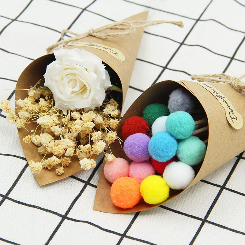50PcsSet Confetti Cone Bouquet With Hemp Ropes Wedding Diy Decoraion Retro Folding Kraft Paper Gifts Packing Party Supplies (14)