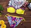 Free Ship Push Up Bikini Brazilian 2016 Bandeau Floral Swimwear Women Padded Boho Bikini Set New