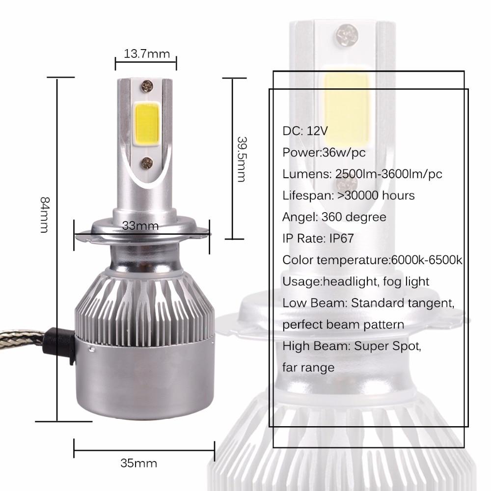 AutoEC 1 Set 36W High Bright COB C6 LED Fara 2500 / 3600LM H4 H7 H11 - Avtomobil işıqları - Fotoqrafiya 2