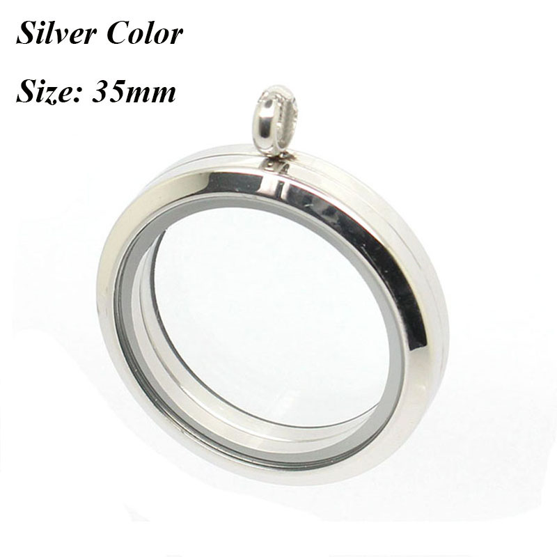 Медальон 20 мм 25 мм 30 мм 35 мм магнитный Серебряный 316L Нержавеющая сталь плавающий медальон кулон - Окраска металла: 35mm