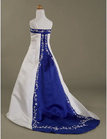 Train White/Royal Blue Embroidery Beads Flower Girl Dresses Princess Dresses Pageant/Party Dress Custom Made Size 2-14 B503100