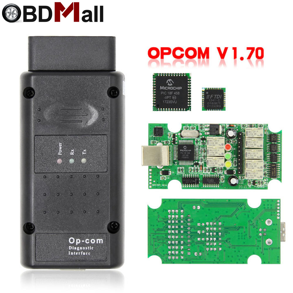2019 obd 2 OP-COM v1.70 opcom para opel carro scanner de diagnóstico com pic18f458 real para opel op com ferramenta de diagnóstico flash firmware