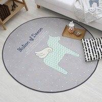Ângulo de cavalo tapete do assoalho para o quarto, estilo simples chão rodada tapete para quarto de crianças, almofada de cadeira, peixes dos desenhos animados carpet