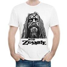 Rob Zombie T Shirt White Color Mens Fashion Print Short Sleeve Rob Zombie Logo T-shirt Tops Tees tshirt Band T-shirt цена и фото