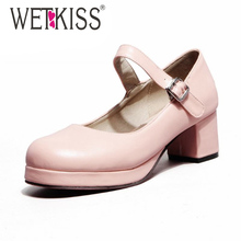 Spring Mary Janes Shoes Women Pumps Square Med Heels Platform Shoes Woman Size 34-43 Dress Shoes 2016 Women Shoes