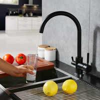 Новый осмос фильтр для воды трехходовой кран для раковины смеситель Поворотный Водоочистка 3 в 1 Кухонные краны матовый черный/матовый нике...
