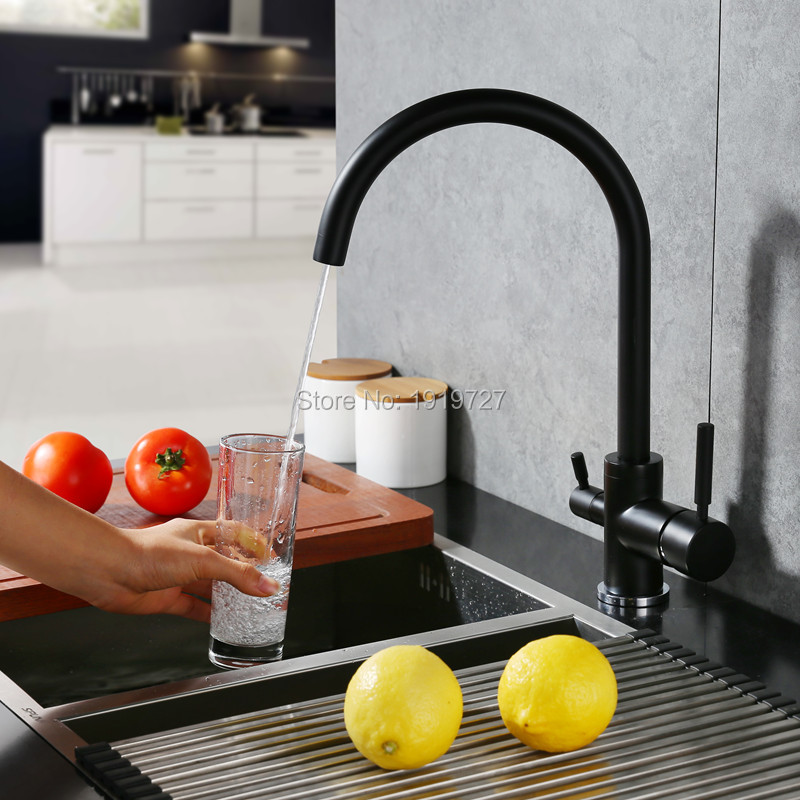 Newly Osmosis Water Filter Three way Sink Taps Mixer Swivel Water Purification 3 In 1 Kitchen Faucets Matte Black/Brushed Nickle : 91lifestyle