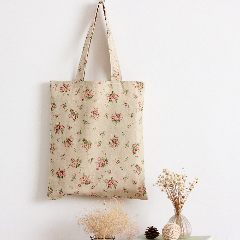 YILE Handmade Cotton Linen Eco Reusable Shopping Shoulder Bag Tote Rural Flower L025