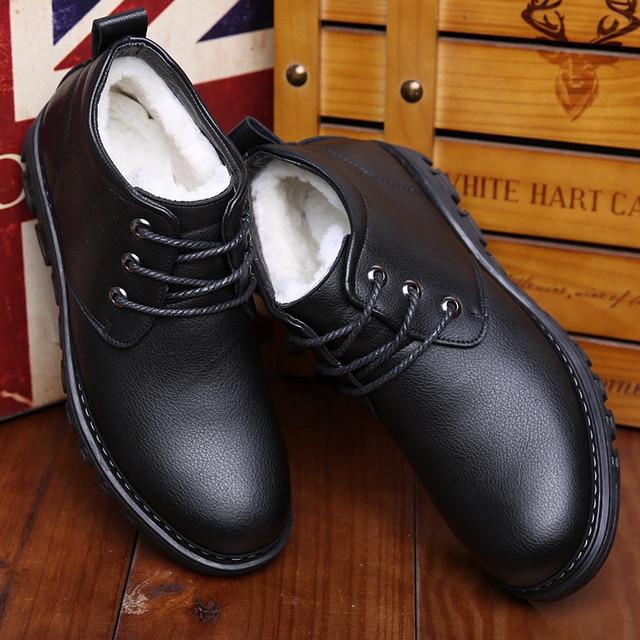 Handmade Wool Men Split Leather Winter Boots Warm Men Snow Boots Waterproof Ankle Boots for Men Luxury Business Dress Shoes 2019