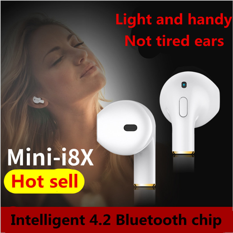 Mono Mini Bluetooth Earphone Headphone with Microphone Sport Headset Wireless Earpiece Micro Earbud i8X for ipod iPhone 7 8 X