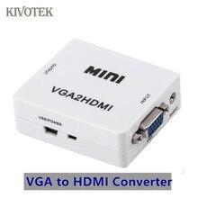 VGA para HDMI Caixa Adaptador Conversor Scaler PCsHDTV PC2TV Conector Fêmea USB fonte de Alimentação Para Laptop DVD PS23 XBOX Livre grátis