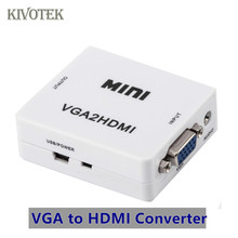VGA to HDMI Converter Scaler Adapter Box PC2TV Female Connector USB Power Supply For Laptop PCsHDTV DVD PS23 XBOX Free Shipping