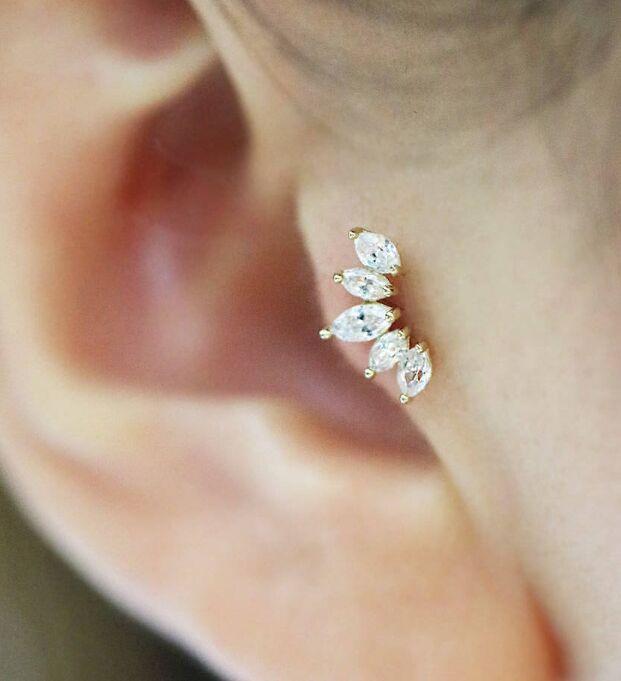 Us 4 12 Crown Cartilage Earring Tragus Piercing Tiara Cartilage Helix Conch Daith Piercing Crown Earring Body Jewelry In Body Jewelry From Jewelry