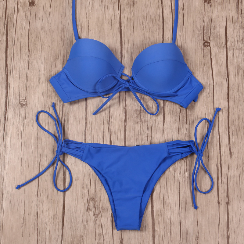 NAKIAEOI 2018 New Sexy Bikinis Women Swimsuit Push Up Swimwear Bandage Cut Out Bikini Set Halter Beach Bathing Suits Swim Wear 5