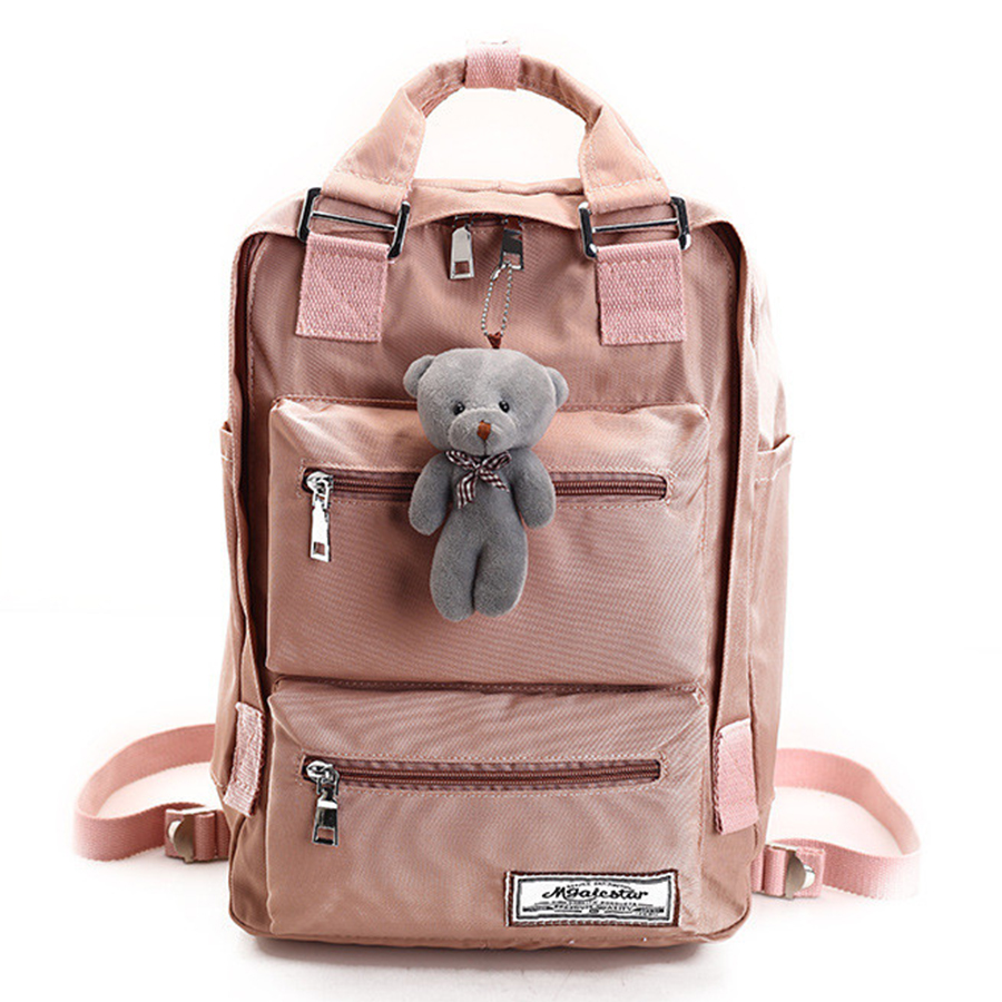 College Style Solid Color Waterproof Nylon Women Backpack Cute School Bags For Teen Girls High Quality Travel Bag Mochila image