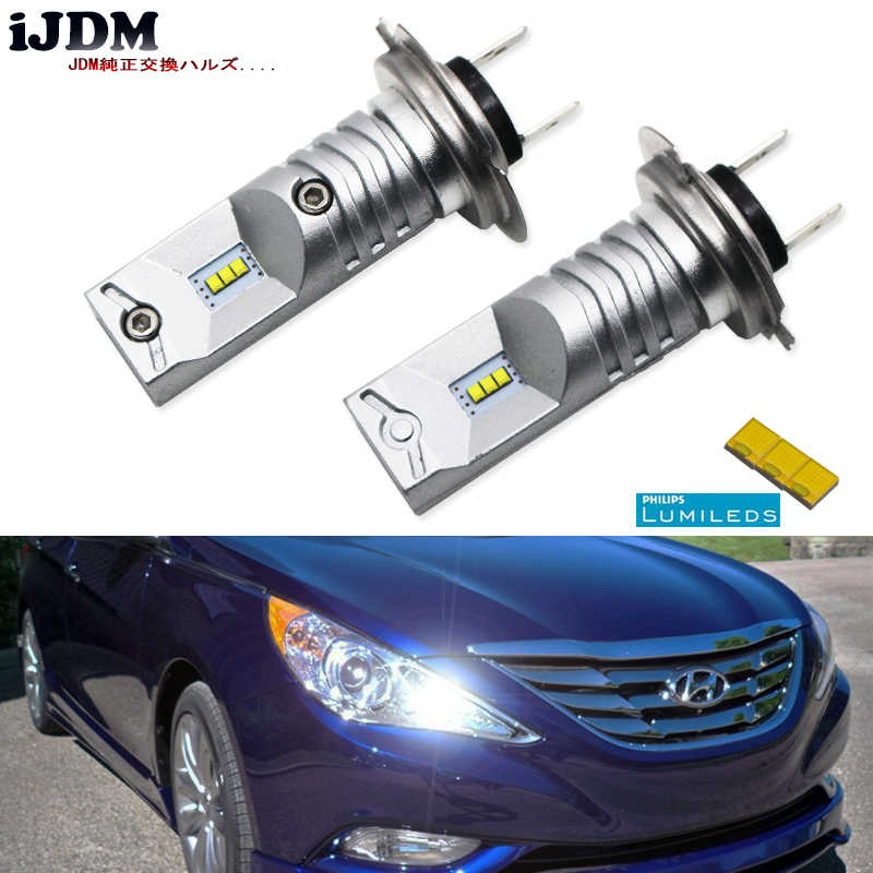 iJDM 6000K Powered By Luxen LED H7 LED Bulbs For Hyundai Genesis Sonata Veloster Accent on High Beam Daytime Running Lights