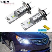 IJDM 6000Kขับเคลื่อนโดยLuxen LED H7 LEDหลอดไฟสำหรับHyundai Genesis Sonata VelosterสำเนียงHigh Beam Daytimeไฟวิ่ง