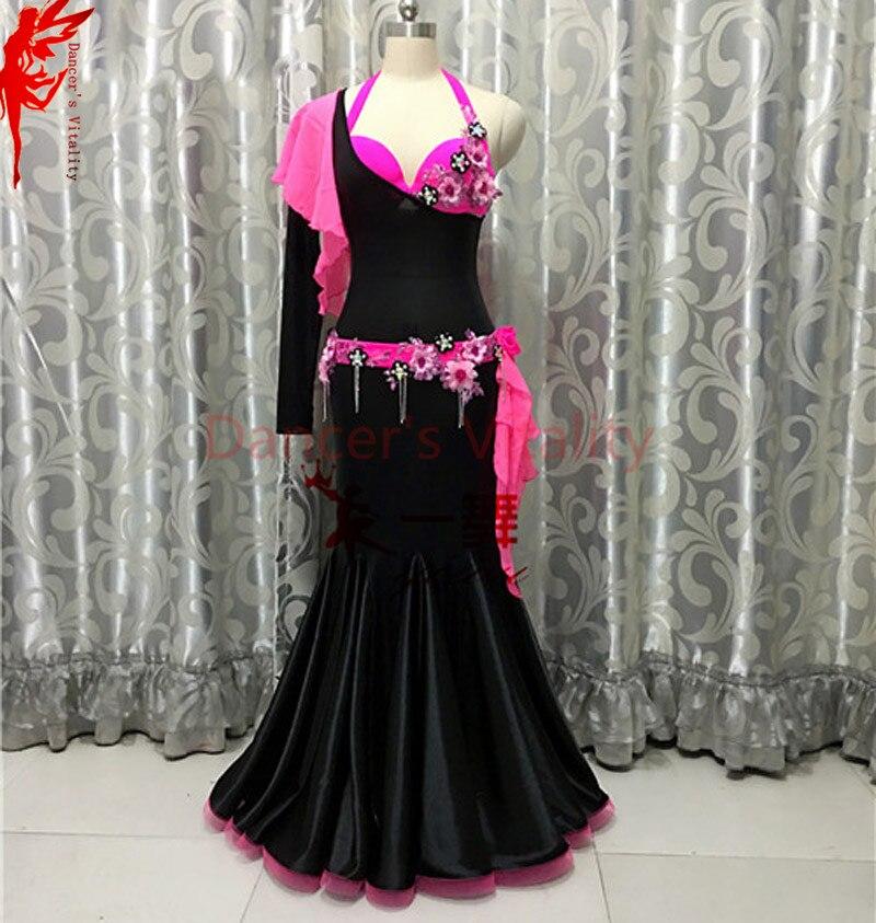 Lady India belly dance clothes flowers bra top and velvet dress 2pcs girls  belly dance Performance dress womenElegant dress B C 9a17c763d281