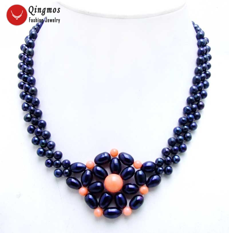 Qingmos 35-40mm Handwork Weaving Pearl Pendant Necklace for Women with 5mm Black Pearl and Pink Coral 3 Strands Chokers Necklace