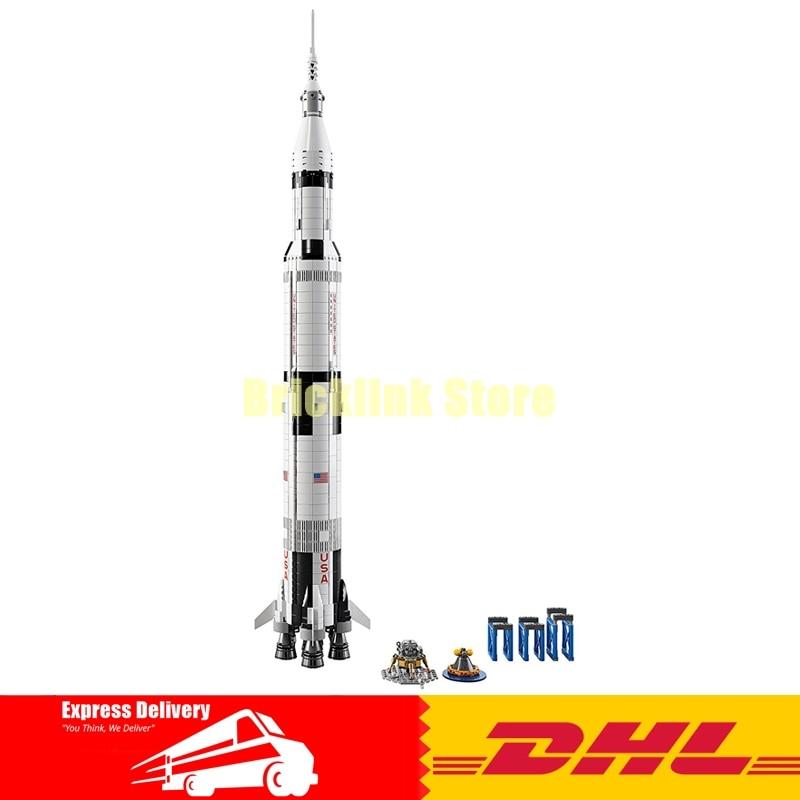 1969Pcs Lepin 37003 Creative Series The Apollo Saturn V Launch Vehicle Set Children Building Blocks Bricks Educational Toy 21309 apollo ru bun lock children puzzle toy building blocks