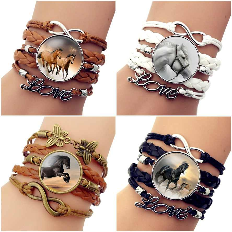 High Quality Hot Fashion Leather Infinity Horse Wrap Bracelet Bangle For Women Handmade Glass Cabochon Horse Jewelry Best Gift