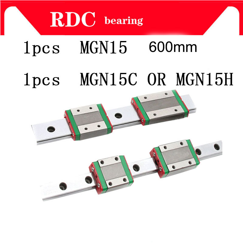 1pcs 15mm Linear Guide MGN15 L= 600mm High quality linear rail way + MGN15C or MGN15H Long linear carriage for CNC XYZ Axis 1pcs mgn15 l1000mm linear rail 1pcs mgn15c carriage