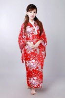 Red Asian Japanese Vintage Original Tradition Silk Yukata Kimono Dress with Obi One size H0044 C Free shipping