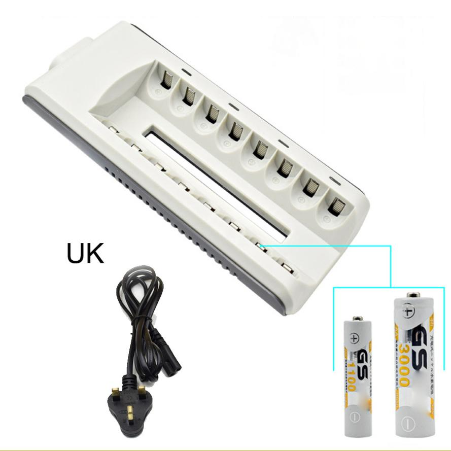 8 Slots Smart Fast Charger AA AAA Ni-MH / Ni-Cd Batteries Rechargeable Battery drop shipping nov3