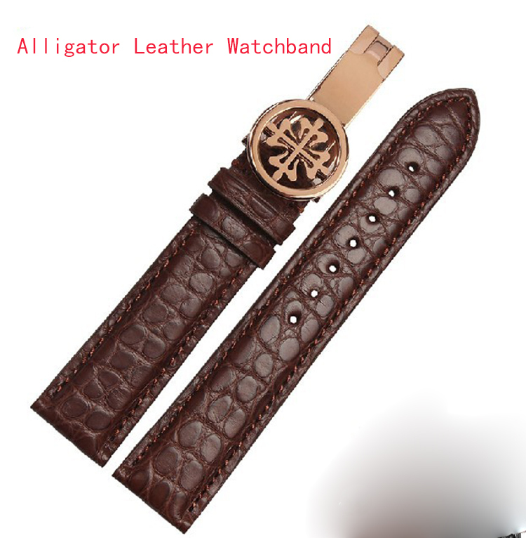 купить Wholesale price Handmade genuine alligator leather watch band 19mm 20mm 21mm 22mm leather strap with Luxury brand buckle silver по цене 3393.08 рублей