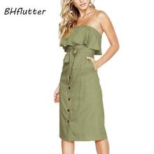 2de4fe929c BHflutter Ruffles Off Shoulder Summer Dress Women 2018 New Style Buttons  Elegant Midi Party Dress Strapless