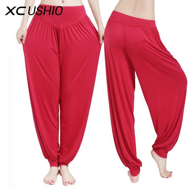 Yoga Pants Women Plus Size Colorful Bloomers Dance Yoga TaiChi Full Length Pants Smooth No Shrink Antistatic Pants 3XL Dropship