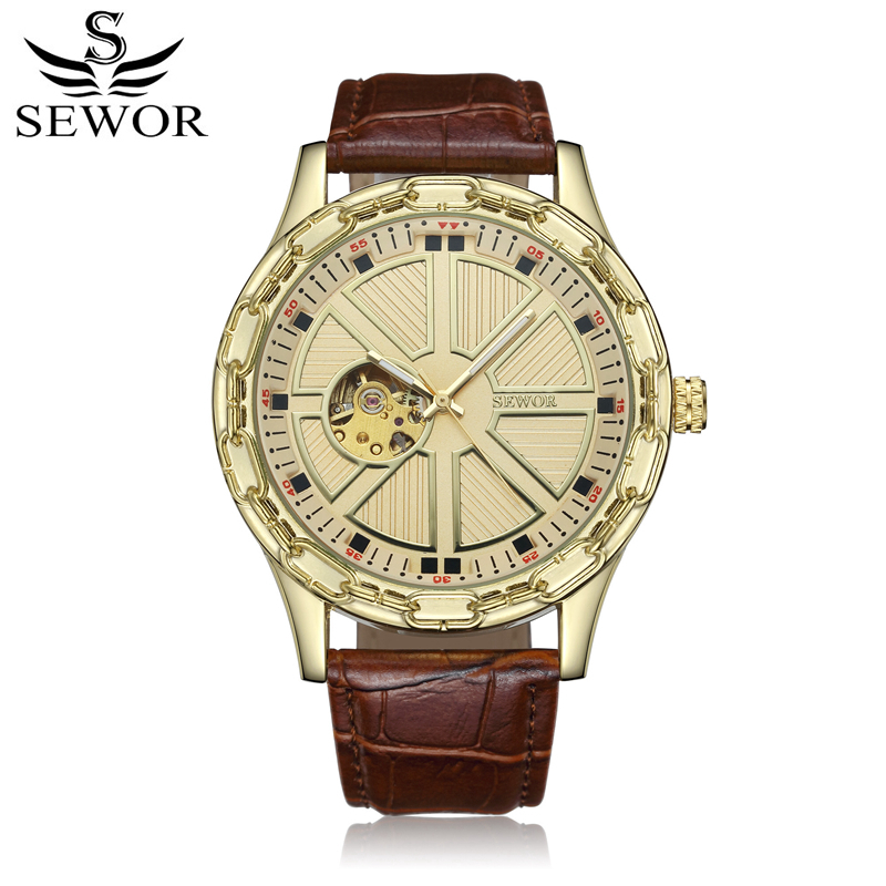 SEWOR Men Watch Mechanical Automatic Self-Wind Mens Mechanic Leather Strap Luxury Man Watches Skeleton Clock With Box SWQ51 2015 new fashion brand pu leather strap men automatic mechanical watch skeleton self wind watch for man dress casual wristwatch