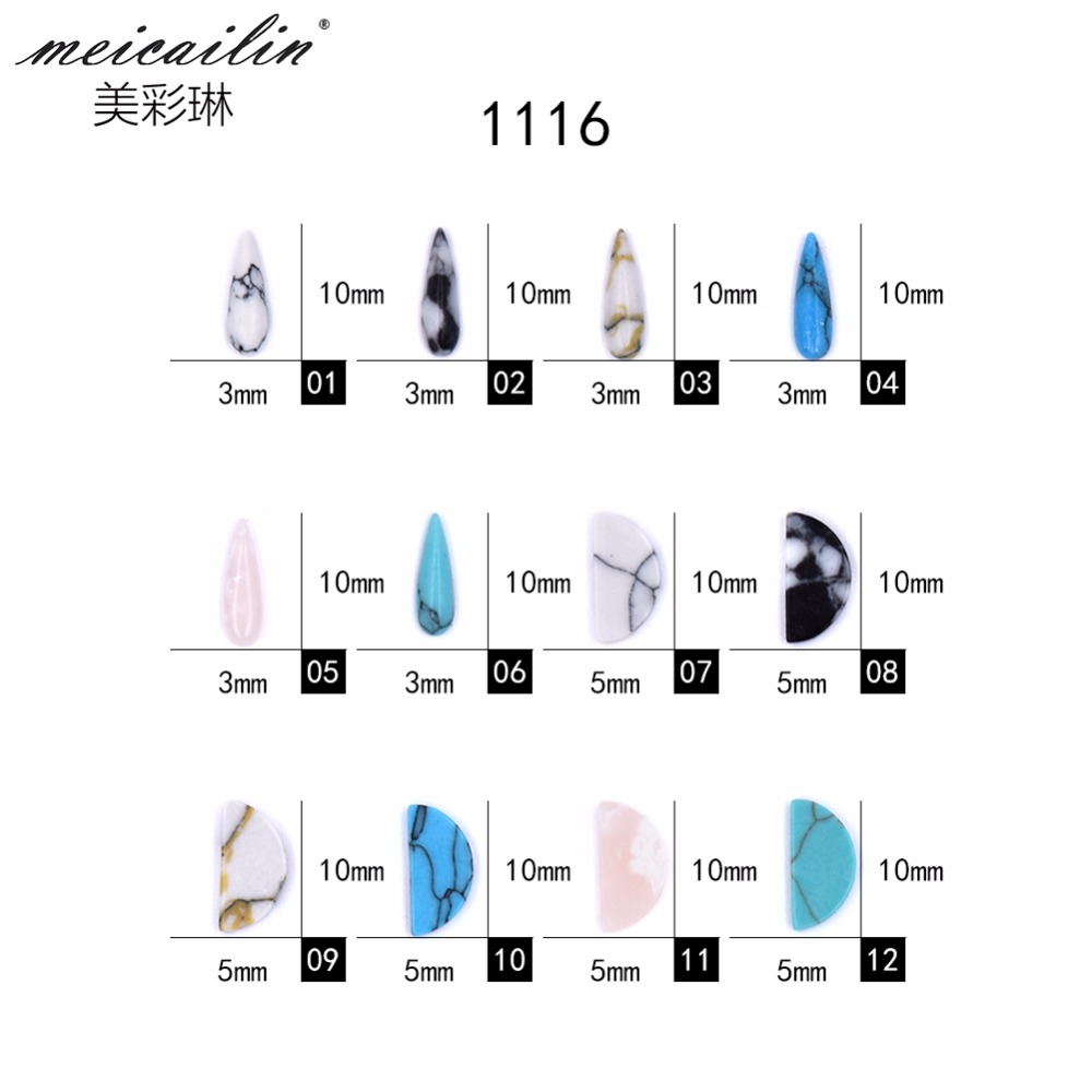 10 PCS pack Japanese Nail Art Decoration Natural Crack Turquoise Waterdrop 3D DIY Nail Stones for Manicure Nail Art Rhinestones in Rhinestones Decorations from Beauty Health