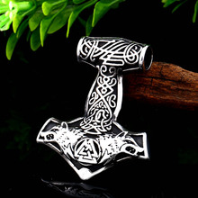 Beier stainless steel  norse viking dropshipping 1pcs thors hammer mjolnir wolf head pendant necklace scandinavian jewelryLP447
