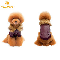 Dog Coat Fur Collar Leather Jacket Dog Clothes Coat Clothing For Teddy Bichon Poodle Dog Garment