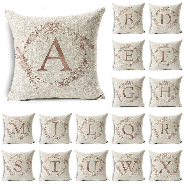 Decorativo di Alfabeto Inglese Lettera Fodere per Cuscini Della Boemia del Coton