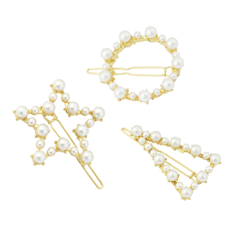 Gold-color Geometric Barrettes Pearl Hair Jewelry Women Brand Hairpins with Pearls Hair Clip Wedding Hair Accessories Top Gifts