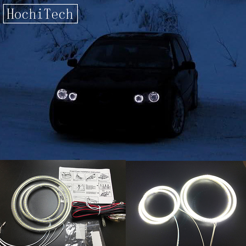 HochiTech Ultra bright SMD white LED angel eyes 12V halo ring kit daytime running light DRL for Volkswagen VW golf 4 1998-2004 цена