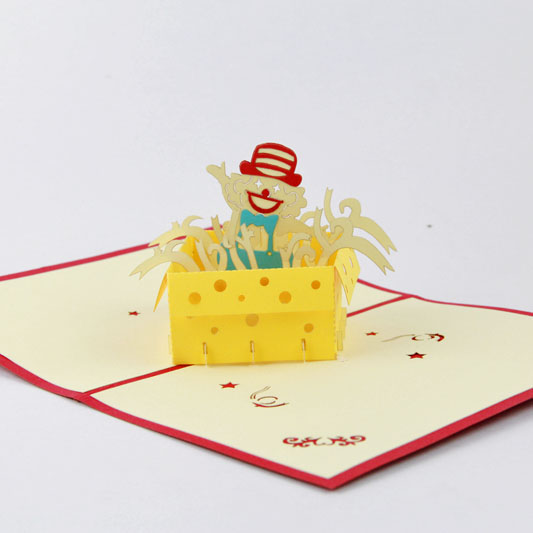 Cute clown card /3D  kirigami card/ handmade greeting cards gift for men  Free shipping 2008 donruss sports legends 114 hope solo women s soccer cards rookie card