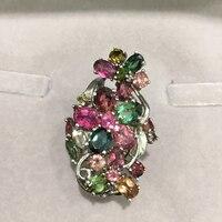 Apenas 1 pcs Hipérbole anel natural turmalina 925 tamanho ajustável de prata anel de dedo indicador mulheres finas jóias de pedras preciosas