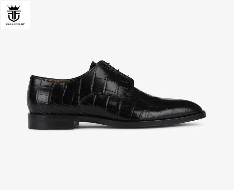 2018 FR.LANCELOT European Mens Pointed Toe stone print Leather Shoes Men Business loafers real Leather Shoes lace up party shoes