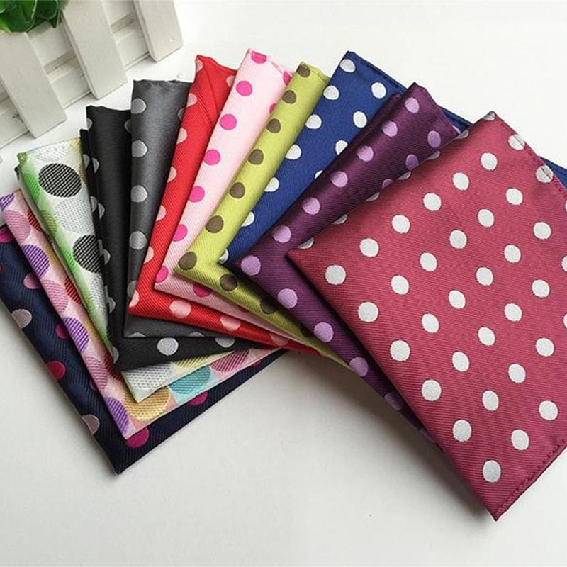 Dot Handkerchiefs For Men Pocket Square 100% Silk Men's Hanky Jacquard Woven Classic Wedding Party Kerchief Hand Towel 100pcs