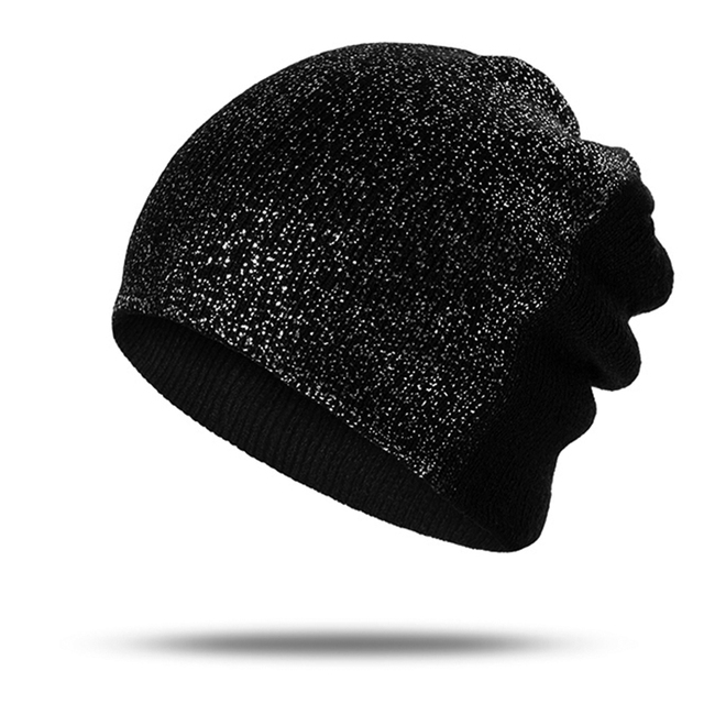 New Sequin Hat For Women Girls Skullies Shinning Caps Ladies Winter Hats  Sequin Beanies Black Color Knitted Hats Bone W d869ced3158