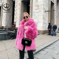 2018 New Real Fox Fur Coat With Tailored Collar Women Winter Real Fur Coats Fox Jacket Genuine Plus Size Overcoat Fashion FC 052