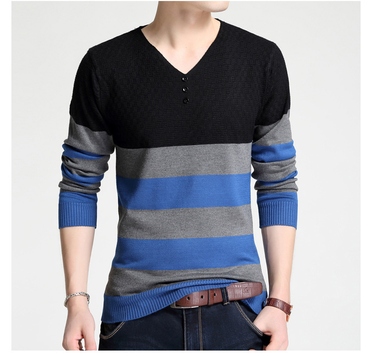 Autumn Winter Warm Wool Sweaters Casual Hit Color Striped V-neck Pullover Men Brand Slim Fit Cotton Sweater 4XL
