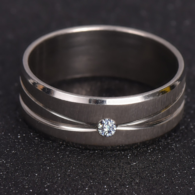 Silver Ring With Micro Paved AAA CZ High Polished White Gold Color Ring 316L Sta