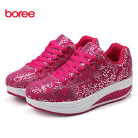 Summer Shoes Women Causal Sport Fashion Walking Flats Height Increasing Women Loafers Breathable Print Swing Wedges