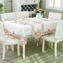 European Luxury Polyester Embroidery Floral Tablecloth Hotel Home Wedding Party Lace Edge Table Cover Decorative Hot Sale