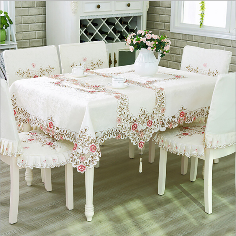 European Luxury Polyester Embroidery Floral Tablecloth