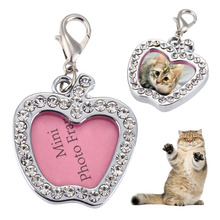 Pet Cat Dog ID Tags Alloy Heart Apple Shaped Alloy Crystal Dog Tag Pet Collar Pendant For Kitten Puppy Customized Pet Supplies
